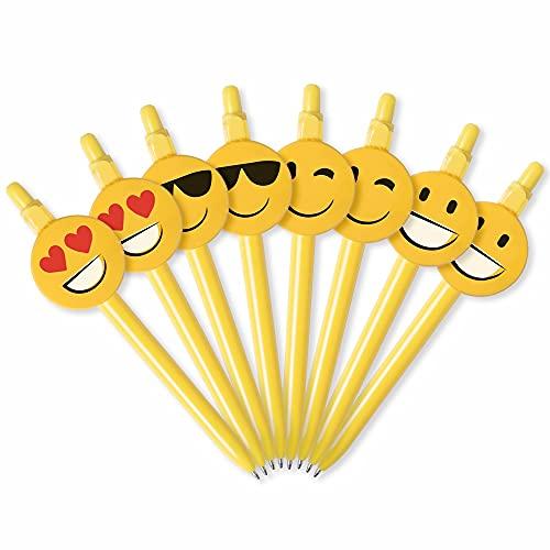 Antevia – Lote de 8 bolígrafos infantiles con forma de emoticono, más de 30 modelos de bolígrafos, tinta azul, material: plástico, formas: sonrir, ojos y corazón