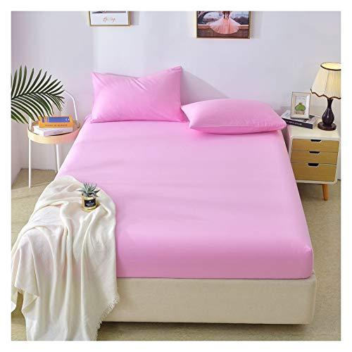 LJP Mattress Cover Cotton Shrinkage And Fade Resistant Mattress Encasement Breathable Non Slip Bed Cover Machine Washable (Color : Pink, Size : 150x200cm)