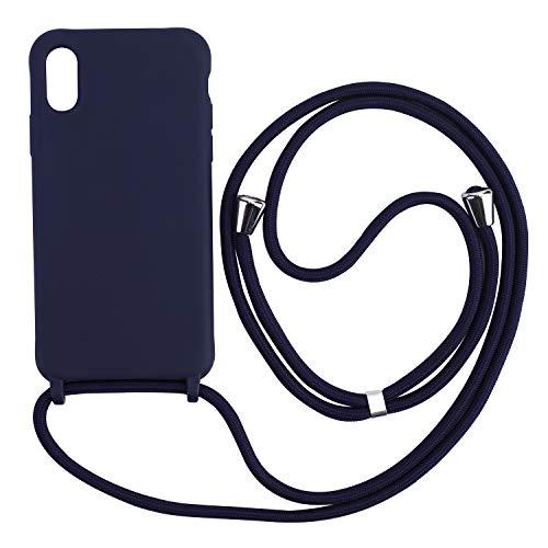 Ququcheng Kompatibel mit iPhone XS Max Hülle,Handykette Hülle Silikon Seil Necklace Handyhülle mit Kordel Tasche TPU Bumper Schutzhülle für iPhone XS Max-Blau