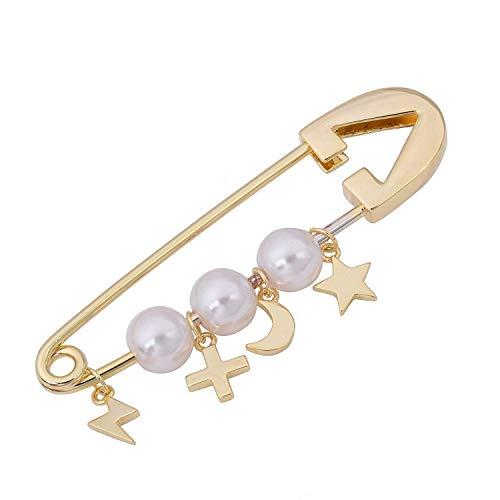 Perla blanca Cruz Estrella Rayo Luna Broche de seguridad Cárdigan Sombrero Bufanda Alfileres Pin de solapa Pin de chal