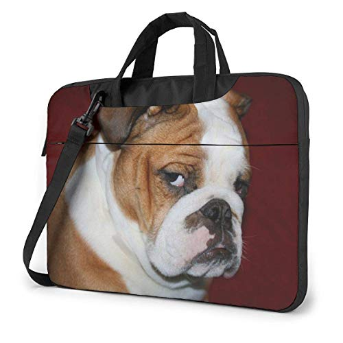 Furry English Bulldog Laptop Shoulder Messenger Bag, 15.6 Inch Laptop Sleeve Carrying Case