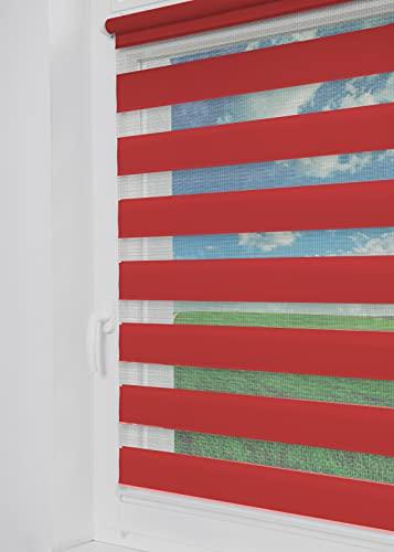 Tom'Shop® Doppelrollo [Rot, 90cm x 150cm] Duo Rollos für Fenster Klemmfix ohne Bohren mit Klämmträger Fensterrollo