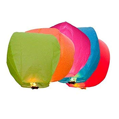 PRINT BHARAT® Sky Lanterns Multicolour Wishing Hot Air Balloon/Flying Night Sky Candle for Diwali/Marriage/Christmas/Birthday/All Festival Multicolor (10)