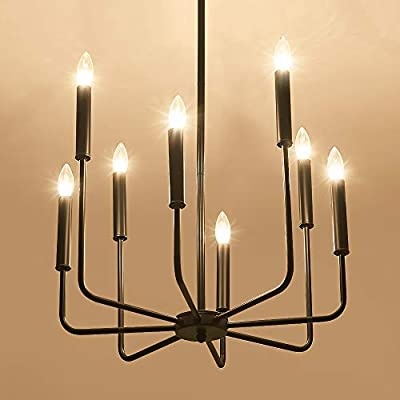ASGYISA 8-Light Farmhouse Chandeliers Black?Industrial Metal Ceiling Light Fixture?Hanging Pendant Light for Dining Room Kitchen Living Room Bedroom Entryway