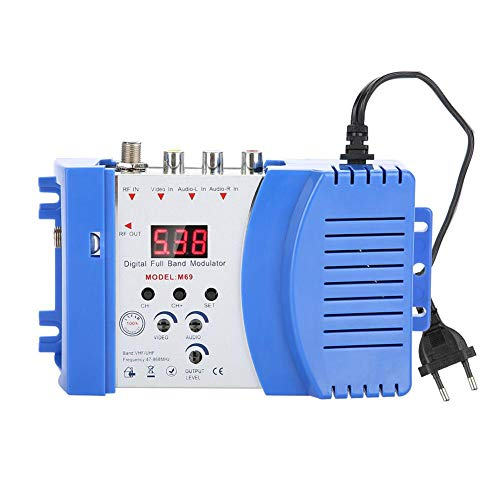 Digitale RF Modulatore Domestico - AV-RF AV-TV Convertitore - Modulatori RF Compatto Audio Video - Display Digitale Canale VHF UHF Frequenza di Lavoro 110-240V(Spina UE)
