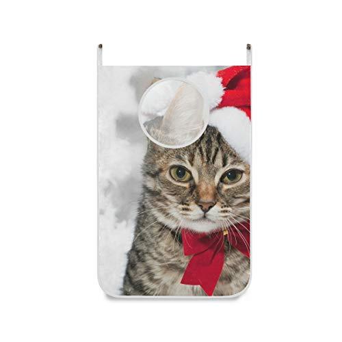 XiangHeFu stoffen zak-mand-deur-hangende kat met rode hoed dicht bij de kerstboom opvouwbare wasmand groot huis