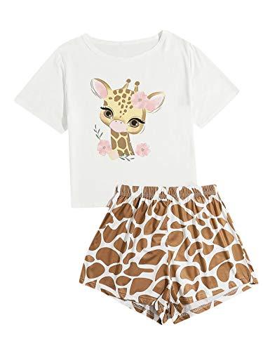 SOLY HUX Damen Schlafanzug Süß Pyjama Shirt und Short Zweiteilig Sleepwear Pyjama Set Nachtwäsche Muster #20 Giraffe Keks-2 S