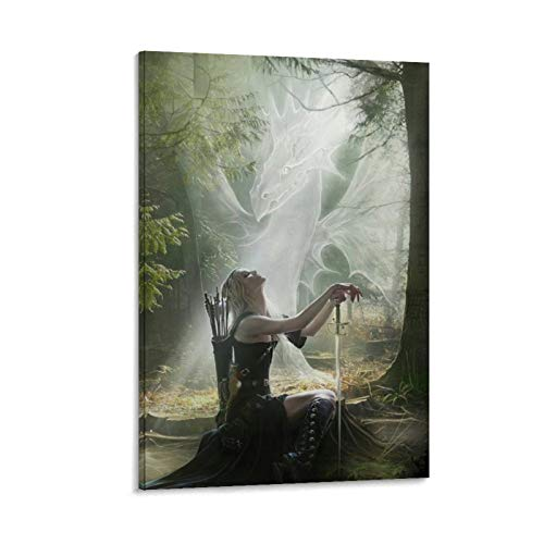 widnah Celtic Woman Warrior Canvas Art Poster and Wall Art Picture Print Modern Family Bedroom Decor Posters 12x18inch(30x45cm)