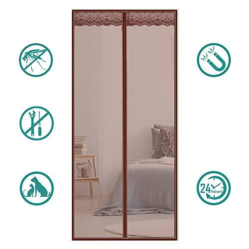 MeetBeauty Magnet Fliegengitter Tür Insektenschutz, Der Magnetvorhang ist Ideal für die Balkontür, Kellertür Und Terrassentür, Kinderleichte Klebemontage Ohne Bohren, Brown 1, 70 x 200 cm