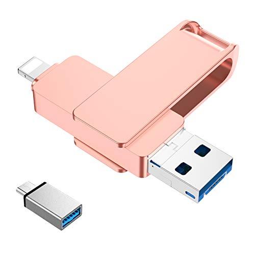 USB Stick für iPhone 128GB Externer Speichererweiterung Photo Stick 4 in 1 USB C 3.0 Handy Memory Stick Speicherfür Kompatibel mit Android Mac Laptop Tablet PC iOS OTG(Golden)