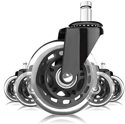 Hausee 5 rotelle per sedia da ufficio, girevoli da 3''/75 mm, silenziose, adatte per la maggior parte delle sedie da ufficio