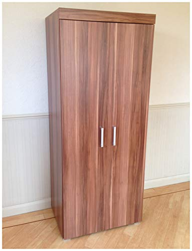 DRP Trading 2 Door Double Wardrobe in Walnut Effect - Bedroom Furniture Robe with Hanging Rail