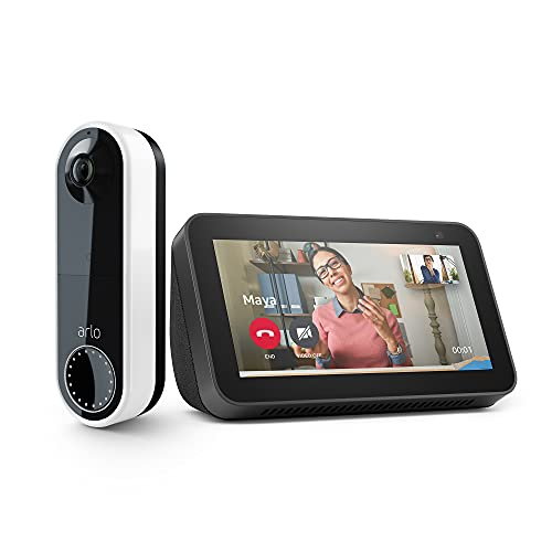 Arlo Essential Video Doorbell Wire-Free with Echo Show 5 (2nd Gen) - HD Video, 180° View, Night Vision, 2-Way Audio, 6-Months Battery Life, Direct to Wi-Fi, No Hub Needed, Wire-Free or Wired