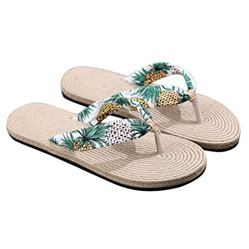 TENDYCOCO Infradito Pantofole da Donna Imitazione Paglia Piatta Floreale Cunei Scarpe da Spiaggia da Viaggio Bohemian in Uscita Sandali (Bianco) Taglia 37
