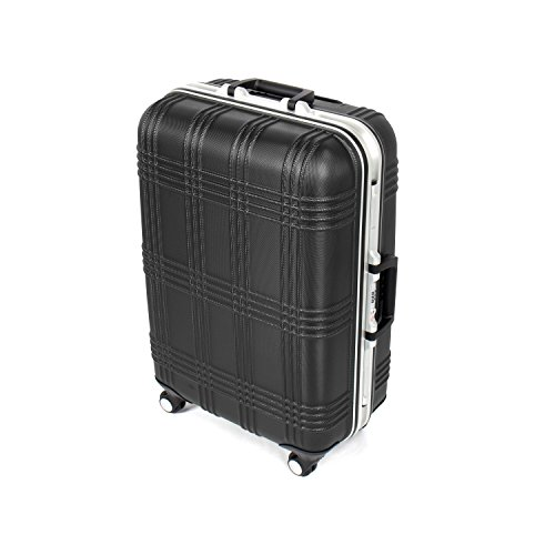 MasterGear Luggage with ABS Hard Shell and Aluminium Frame – Size M (65 x 45.5 x 25 cm ) Suitcase with 4 Spinner Wheels (360 degrees) in Black – TSA Lock