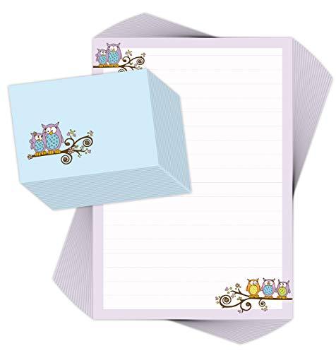 Juego de papel de carta para niños, 20 hojas, DIN A4, con líneas, incluye 20 sobres impresos/papel de carta para niños, juego de papel de carta para niños y niñas