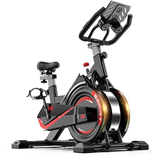 LQ&XL Bicicleta estática de Spinning Deportiva para Estudio,Ajustable Resistencia,Monitor LED+Soporte para Tableta,Bicleta de Gimnasio, Sillín Ajustable, Soporte De Carga 150 Kg