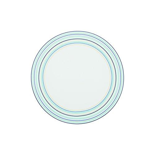 DEGRENNE - Tempo lot de 6 assiettes plate ronde 26 cm , porcelaine - Bleu
