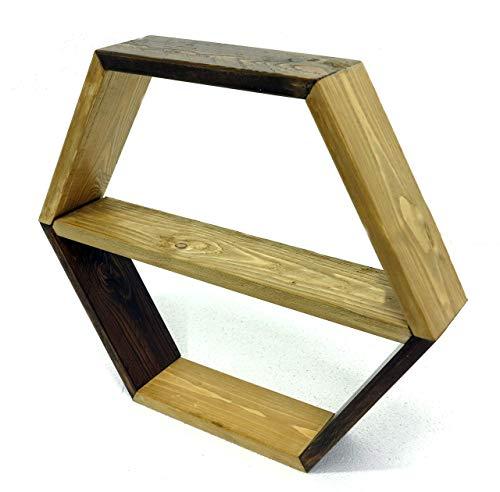 Estante hexagonal, estante de nido de abeja montado en la pared, hecho de tablas de abeto diseño de upcycling, librero, estante.