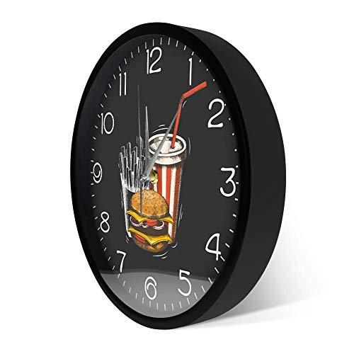 Wangzhongjie Best Fast Food in Town Modern Wall Clock Hamburger French Fries Soda Traditional Taste Takeaway Fast Food Restaurant Wall Clock-Metal_Frame