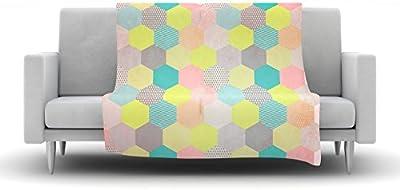 80 x 60 Fleece Blanket Kess InHouse Louise Machado Dots Yellow Mixed Throw