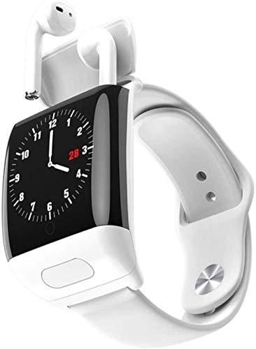 Reloj inteligente deportivo fitness tracker push-in auriculares Bluetooth combinación llamada recordatorio sueño monitoreo - Blanco