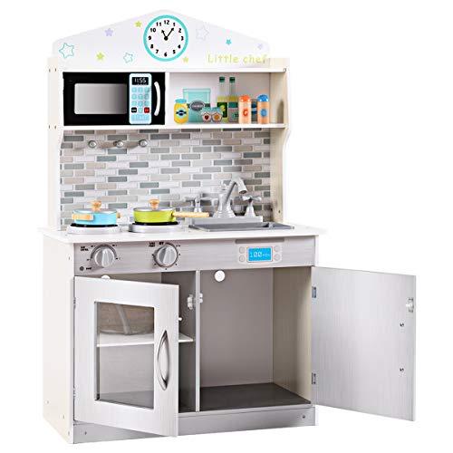 GOPLUS Kinderküche aus Holz, Holzküche Spielküche Kinderspielküche für Kinder, Spielzeugküche mit Mikrowelle, Spüle