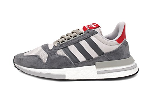 adidas Men's ZX 500 RM Grey Four/FTWR White/Scarlet B42204 (Size: 9)