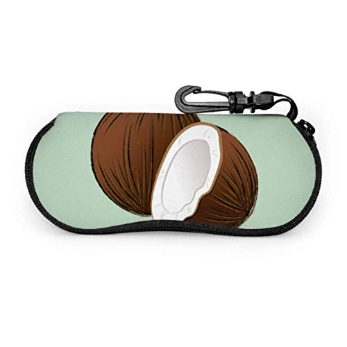 Estuche para gafas Fundas para gafas Marrón Roto Coco Pieza de Alimentos Estuche Suave para Gafas de Sol de Neopreno con Cremallera Suave Bolsa Protectora de Gafas