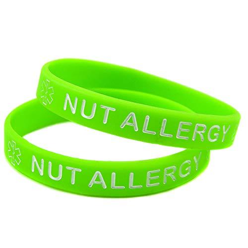 Zdy 10 Stks Gift Nut Allergie Waarschuwing Armband Lettering Kleuren Siliconen Pols Band Verjaardagscadeau