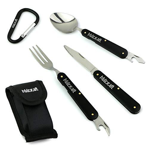 Milcraft Camping Besteck, Multifunktionsset aus Edelstahl, mit Messer, Gabel und Löffel mit Flaschen /Dosenöffner