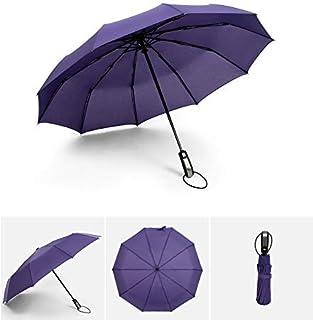 HKXR Automatic Ten-Bone Folding Umbrella Reinforced Big Windproof Women 10K Parasol Pure Color Waterproof Umbrellas Rain for Men (Color : Purple)