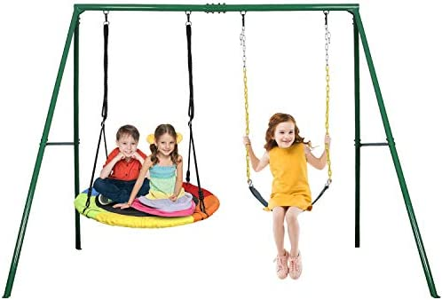 Trekassy 440lbs 2 Seat Swing Set 1 Saucer Swing Seat and 1 Belt Swing Seat with Heavy Duty A product image