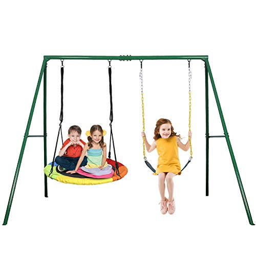 Trekassy 440lbs 2 Seat Swing Set, 1 Saucer Swing Seat and 1 Belt Swing Seat with Heavy Duty A-Frame Metal Swing Stand