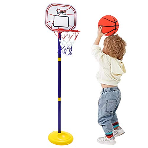 Cyfie Basketball Hoop for Kids, Adjustable Height 2.26ft - 3.48ft Basketball Stand Sports Game Play Indoor Outdoor Backyard Basketball Goal Toy for Boys Girls Children Toddlers (1-3 Years Old)
