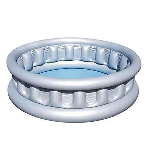 YMJTLTU Piscina inflable engrosada redonda para niños, piscina al aire libre, verano, piscina y pelota de océano, color plateado