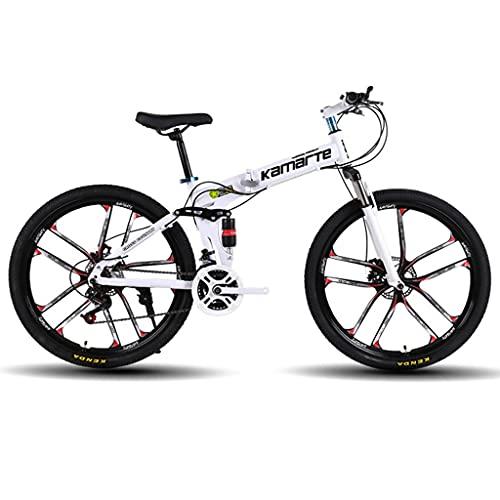 Bicicleta Montaña MTB Montaña de la bici adulta del doblez de 26 pulgadas 21/24/27 bicicletas de doble suspensión del freno de disco doble Estudiante amortiguadora de golpes -speed Bicicleta de Montañ