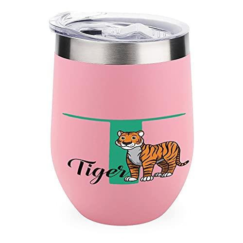 Vaso de vino de tigre único taza de café y idea para hombre/mujer/jefes/cooperadores vasos de vino taza para hombres y mujeres, vaso de vino con refranes tigre rosa de 12 onzas