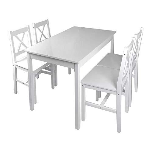 Salón de jardín al aire libre con una mesa y cuatro sillas de pino, conjunto de comedor de 5 piezas, mobiliario de comedor al aire libre, salón de jardín, mesa de jardín de pino macizo