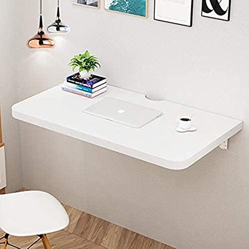 DZCGTP Mesa de Comedor de Cocina Plegable de Madera Blanca Moderna montada en la Pared Que Ahorra Espacio, Hoja Engrosada de 2,5 cm, con Orificio de Alambre Reservado y Montaje
