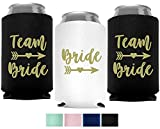 Bride & Team Bride Bachelorette Party Can Coolers, Set of 12 Double Sided White and Mint Green Beer Can Coolies, Perfect Bachelorette Party Decorations and as Brides Maid Gifts (Black)