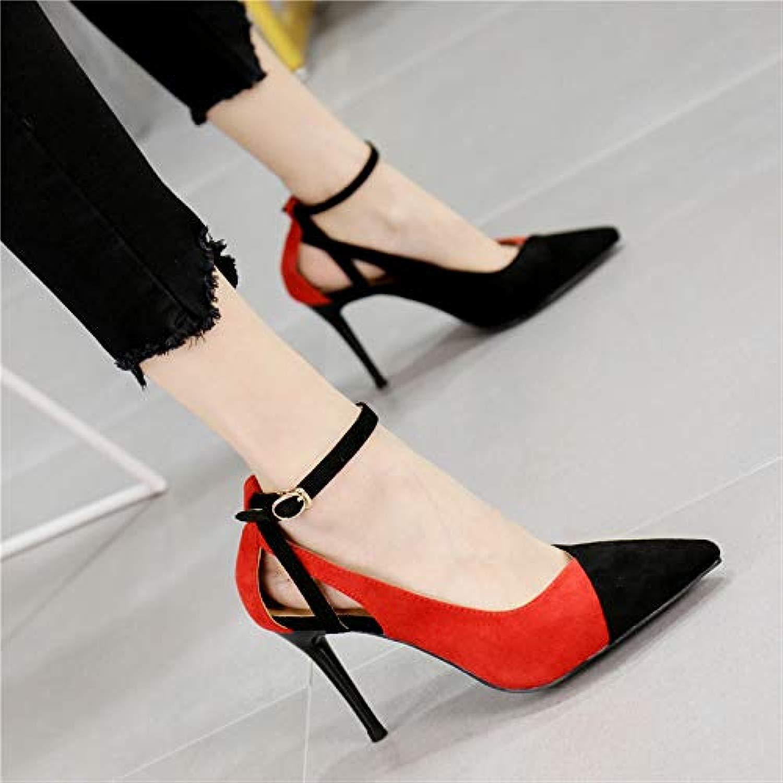 Pumps Pumps Mode Farbe passenden Spitzen Wort Schnalle einzelne Schuhe Temperament hohlen Stiletto Heels Frauen, 37, rot  kosteneffizient