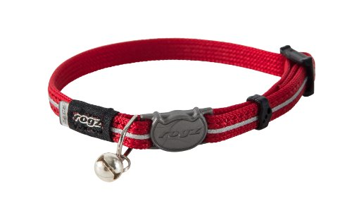 Rogz Catz AlleyCat Extra Small 5/16' Breakaway Reflective Kitten Collar, Red Reflective
