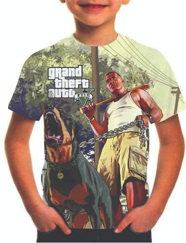 Camiseta Gta 5 Grand Theft Auto 5 Estampa Total Infantil