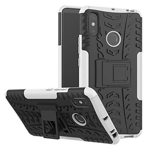 TiHen Funda Xiaomi Mi MAX 3 360 Grados Protective con Pantalla de Vidrio Templado. Caso Carcasa Case Cover Skin móviles telefonía Carcasas Fundas para Xiaomi Mi MAX 3 - Blanca