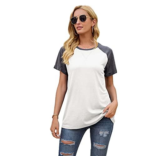 RWXXDSN Zomer T-shirt vrouwen mode casual trui ronde hals kleurblokkering korte mouwen top - wit - 5XL
