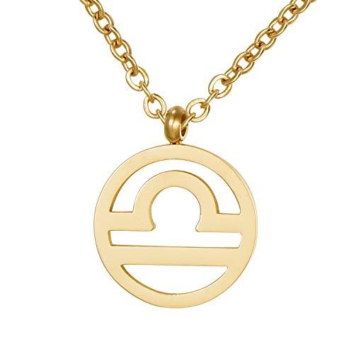 Morella Damen Halskette Sternzeichen Waage Edelstahl Gold im Samtbeutel