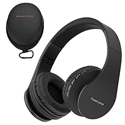 PowerLocus Wireless Bluetooth Over-Ear Stereo Foldable Headphones, Wired Headsets Noise Cancelling with Built-in Microphone for iPhone, Samsung, LG, iPad (Black) by PowerLocus