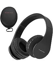 PowerLocus Trådlös Bluetooth Over-Ear Stereo Vikbar Hörlurar, Trådbundna Headsets Brusreducering med Inbyggd Mikrofon för iPhone, Samsung, LG, iPad (svart)