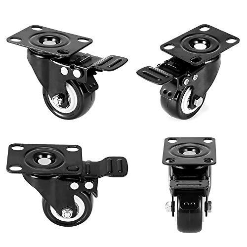 TryVictory 4 unids/set ruedas de transporte ruedas giratorias silla de oficina rueda giratoria de alto rendimiento con freno ruedas con cancelación de ruido